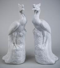 Pair of Blanc de Chine Phoenix Figures