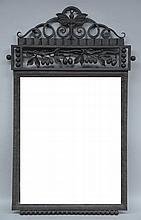 A rare wrought iron art deco wall miror, 53,5 x 86,5 cm