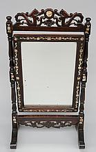 A Chinese wooden table screen inlaid with mother of pearl, transformed to a mirror, H 60 - B 33 cm (restoration; minor damage to the mother of pearl)