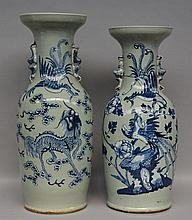 Two Chinese celadon blue and white vases, decorated withphoenixes and a kylin, 19thC, H 58 - 61,5 cm (one with a small crack on the rim - one with a crack in the bottom)