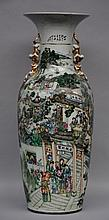 An exceptional Chinese polychrome vase, decorated all around with different genrescenes, signed by the artist, 19thC, H 87 cm