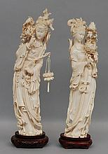 A pair of Chinese elegant ivory carved figures on a wooden base, first half 20thC, H 50 - 52,5 cm