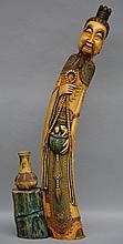 A Chinese ivory carved polychrome figure, ca. 1900, H 100,5 cm