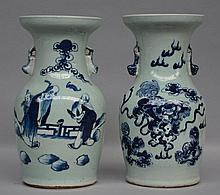Two Chinese celadon ground and blue and white vases, 19thC, H 33 - 34 cm