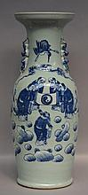 A Chinese celadon vase, blue and white decorated with Wise Men, 19thC, H 61 cm (crack in the bottom)