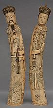 A pair of Chinese ivory carved figures, first half 20thC, H 81 - 83,5 cm