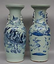 Two Chinese celadon ground and blue and white vases, 19thC, H 60,5 - 61 cm (one with a crack)