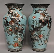 A pair of Oriental turquoise and polychrome decorated cloisonné vases, ca. 1900, H 60,5 cm (restoration and damage)