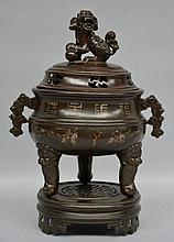 A Chinese bronze  incense burner, marked, ca. 1900, H 42 cm