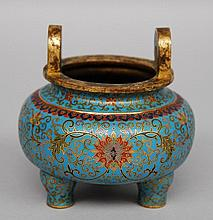 A small Chinese bronze cloisonné incense burner, marked, 19thC, H 11,5 - Diameter 11 cm