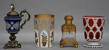 Two mid 19thC Bohemian cut crystal goblets; a ditto mustard pot with silver mount; a 19thC French crystal perfume flask with brass mount, H 11 > 15,5 cm