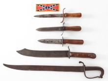 Lot of 5 Unmarked Possibly Civil War Knives