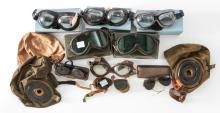 Misc. Lot of Mid-Century Flight Helmets/Goggles