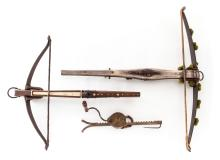 Two Handmade Crossbows and Cocking Crank