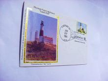 1986 MONTAUK POINT LIGHTHOUSE SILK CACHET COVER
