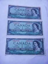 [3] CANADA $1 BANKNOTES