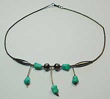 NAVAJO SILVER TURQUOISE NECKLACE