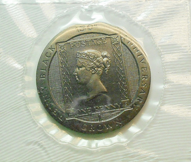 1990 ISLE OF MAN PENNY BLACK CROWN GEM B.U.