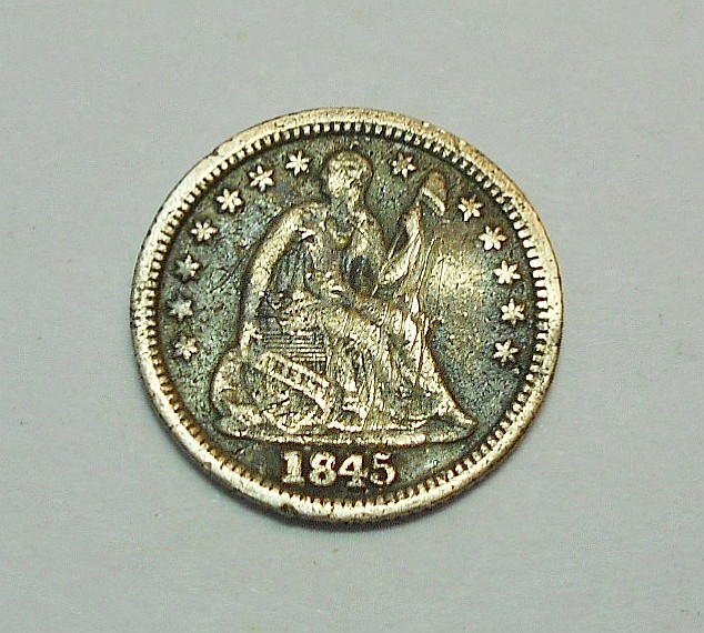 1845 SEATED HALF DIME