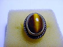 VINTAGE SILVER TIGERS EYE RING SIZE 3