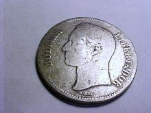 1887 VENEZUELA 5 BOLIVARS