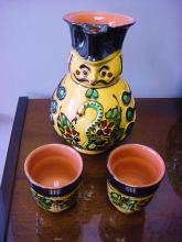 SIGNED HAND PAINTED CZECH DECANTER WITH 2 CUPS