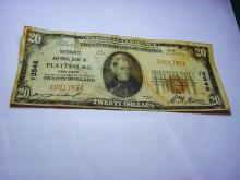 1929 PLATTSBURG, NEW YORK $20 NATIONAL CURRENCY BANKNOTE