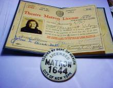 1937 NEW YORK CITY THEATRE MATRON LICENSE