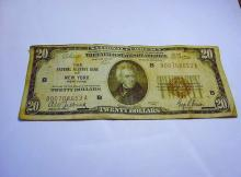 1929 NEW YORK $20 NATIONAL CURRENCY BANKNOTE