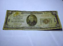 1929 PATERSON, NJ $20 NATIONAL CURRENCY BANKNOTE