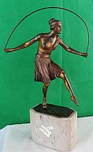 ArtDeco Bronze Lady Jumping  Rope, France 1910