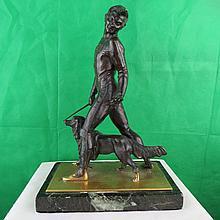 Bronze ,Dog Trainer, France , C.1920. 12.5