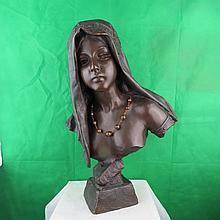 Bronze Bust by E.Villanis ,C.1920. 21.5