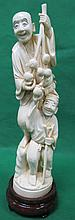 Ivory sculpture Two Chinese Men Signed H: 10