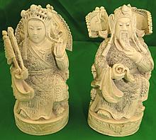 Pair of Ivory Emperor and Empress - Signed H: 6.5