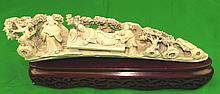 Old Ivory Sculpture Noble Lady on Bench L: 12