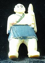 Old Ivory Netsuke Man w/umbrella H-2