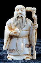 Old Ivory Netsuke Man w/Cane H-2''