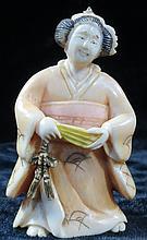 Old  Ivory Netsuke Lady w/Fan H-2