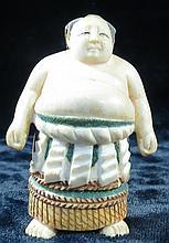 Old Netsuke Japanese  Sumo Wrestler polychrome
