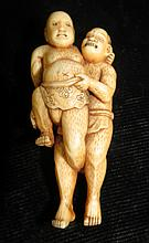 Old Ivory ivory Sculpture Wrestlers  H-2.5