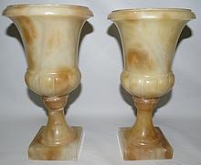 Alabaster Pair of Vases  H-10