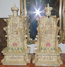 Pair of Bone Carvings  Emperor/Empress. China