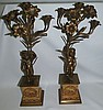 Pair of Bronze and Porcelain Candelabras