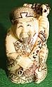 Ivory  Netsuke, Man with Cane , signed