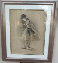 Degas Dancer Mixed Technique on Paper COA
