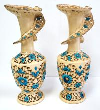 Pair of Old Italian Ceramic Vases H: 14