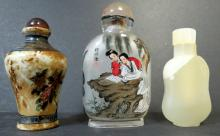 Set of 3 Snuff Bottles - Jade - Porcelain - Glass