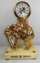 Clock Brass Figure of Elephant Gold Leaf H: 21