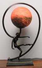 Art Deco Lamp with Orange Glass H: 15